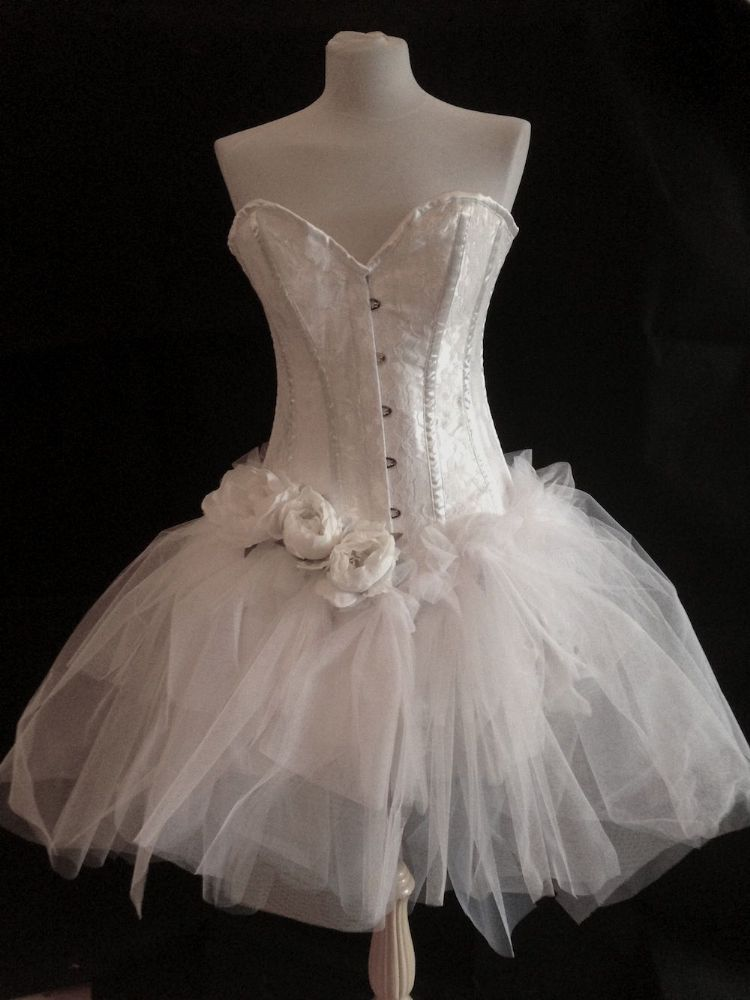 White Burlesque Corset Dress White Burlesque Costume